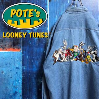 【ルーニーテューンズ】バックビッグキャラ刺繍ダブルポケットデニムシャツ 90s