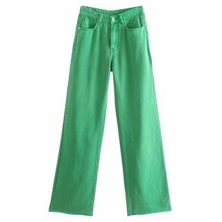 グリーン カラーデニム ワイドレッグ パンツ《XS〜L》