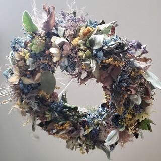 ドライフラワー スモークツリーと紫陽花のフライングリース(ドライフラワー)