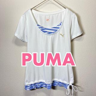 プーマ(PUMA)のPUMA トップス トレーニングウェア Tシャツ Sサイズ ホワイト × ブルー(ウェア)