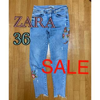 ZARA - ZARA デニム 刺繍 ダメージジーンズ 36