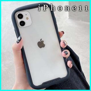 iPhone11 ケース クリア ガラス カバー 画面 保護 韓国 黒 F