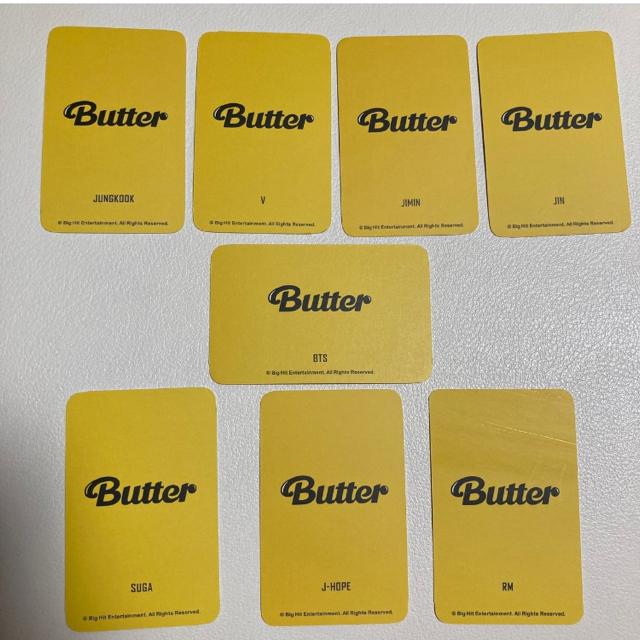 防弾少年団(BTS)(ボウダンショウネンダン)のButter トレカサイズ フォトカード 8枚 エンタメ/ホビーのタレントグッズ(アイドルグッズ)の商品写真