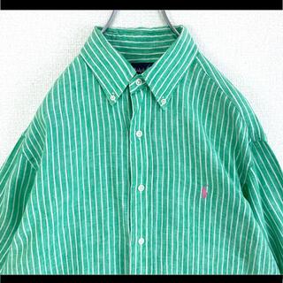 Ralph Lauren - ラルフローレン BDシャツ グリーン ゆるだぼ ピンクポニー 麻 リネン