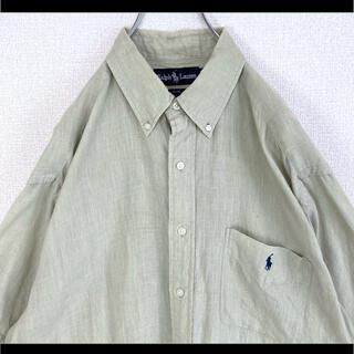 Ralph Lauren - ラルフローレン BDシャツ 半袖 ベージュ 紺ポニー 麻 リネン ゆるだぼ