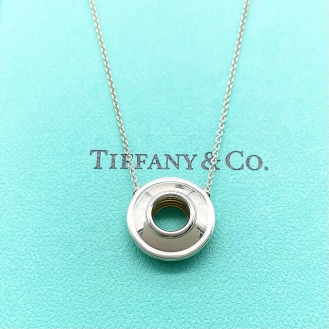 Tiffany & Co.(ティファニー)のティファニー ディスク ネックレス コンビ K18 シルバー サークル レディースのアクセサリー(ネックレス)の商品写真