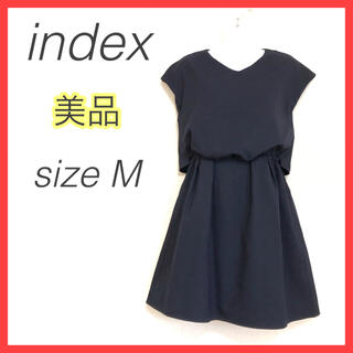 INDEX - 【美品】インデックス セットアップ風ワンピース 膝丈 フレアスカート ネイビーM