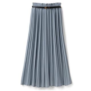 グレイル(GRL)の*完売品*ベルト付きプリーツスカート ブルー(ロングスカート)