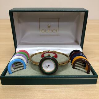 Gucci - GUCCI グッチ チェンジベゼル 腕時計 バングルウォッチ クォーツ ゴールド