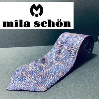 ミラショーン(mila schon)の【美品】 mila schon/ミラショーン ネクタイ ネイビー 総柄(ネクタイ)