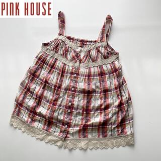 PINK HOUSE - PINK HOUSE カットワークレースキャミソールブラウス レッド系チェック