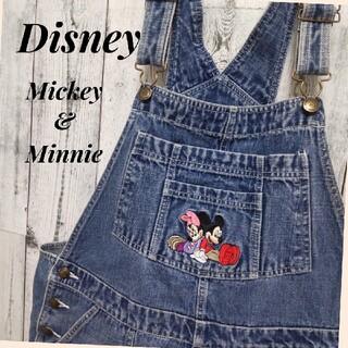 Disney - Disney ディズニー ミッキー&ミニー刺繍 デニム オーバーオール