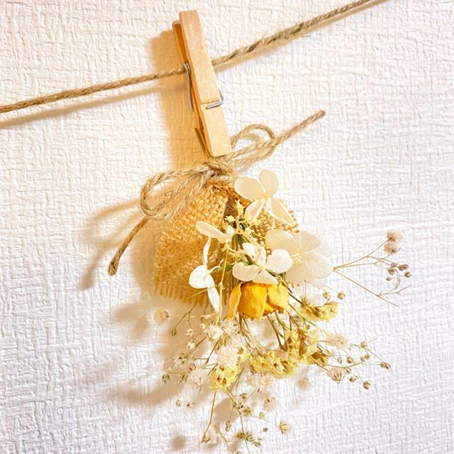 ドライフラワー スワッグ ガーランド ミモザ 紫陽花 ユーカリ かすみ草 ハンドメイドのフラワー/ガーデン(ドライフラワー)の商品写真