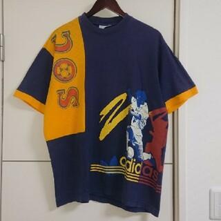 adidas - adidas アディダス Tシャツ 90s古着 サッカー ビッグプリント レトロ