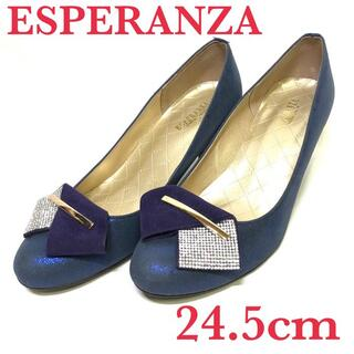 ESPERANZA パンプス ラウンドトゥ コーンヒール 24.5cm ネイビー