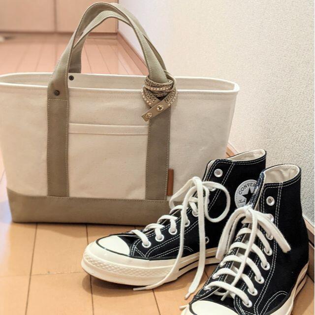 Mサイズ 大人ベージュ 帆布トートバッグ レディースのバッグ(トートバッグ)の商品写真