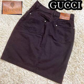 Gucci - 【未使用に近い✨】グッチ デニム膝丈スカート GGツインズ ダークブラウン