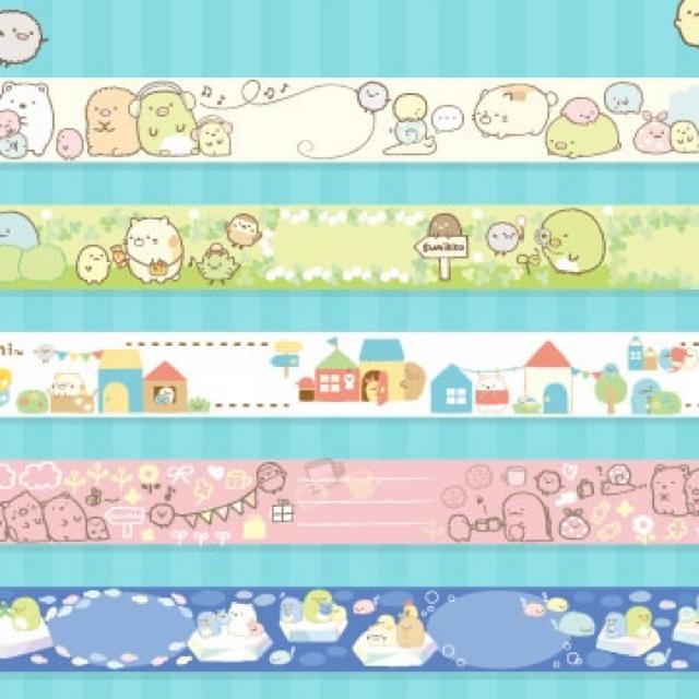 サンエックス(サンエックス)のすみっコぐらし マスキングテープ ロールメモ2個 エンタメ/ホビーのおもちゃ/ぬいぐるみ(キャラクターグッズ)の商品写真