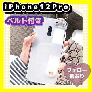 iPhoneカバー   iPhone12Pro  クリア ベルト付き