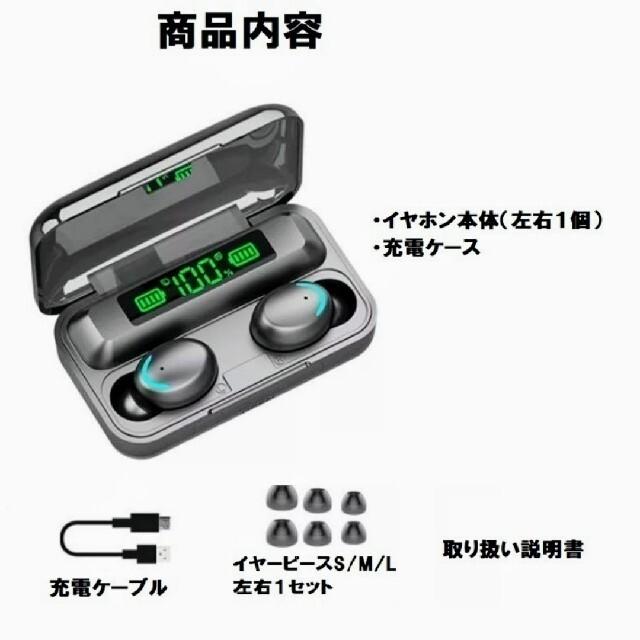 最新ワイヤレスイヤホン イヤフォン Bluetooth ブルートゥース スマホ/家電/カメラのオーディオ機器(ヘッドフォン/イヤフォン)の商品写真