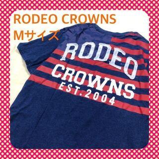 ロデオクラウンズワイドボウル(RODEO CROWNS WIDE BOWL)のM RODEO CROWNS ロデオクラウン コットン 青 赤 Tシャツ 古着(Tシャツ/カットソー(半袖/袖なし))