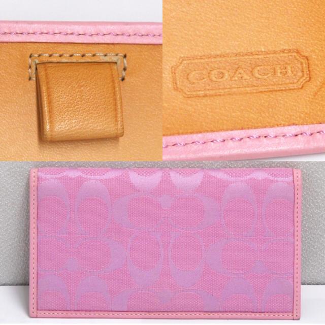 b1f35fdb41d9 COACH(コーチ)のCOACH コーチ 札入れ 長財布 キャンバス シグネチャー ピンク メンズのファッション