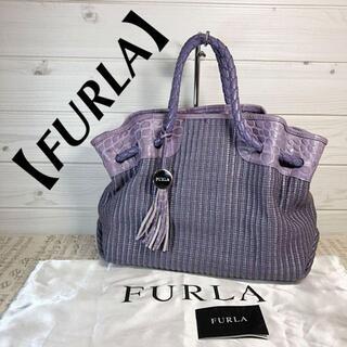 Furla - 【FURLA】編み込み ストロー クロコダイル型押し 巾着型 くすみパープル