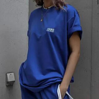 ACLENT Point logo over tee  ブルー(Tシャツ(半袖/袖なし))