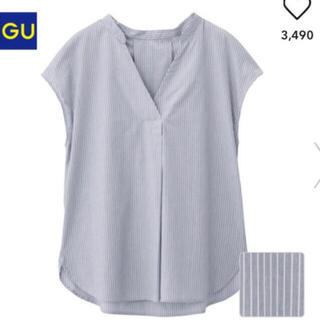 GU - 【GU】ストライプ(袖なし)スキッパーシャツ  Sサイズ