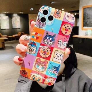 iPhone ケース【アンパンマン カラフルチェック柄 超光沢】キラキラ ラメ