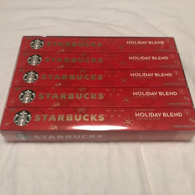 Starbucks Coffee(スターバックスコーヒー)のSTARBUCKS NESPRESSO ホリデーブレンドカプセル 10p×5箱 食品/飲料/酒の飲料(コーヒー)の商品写真