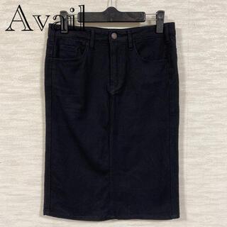 アベイル(Avail)のAvail アベイル ブラック スカート タイトスカート スリット ストレッチ(ひざ丈スカート)