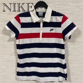 ナイキ(NIKE)のNIKE ナイキ ラガーシャツ 半袖 ボーダー スリット 古着 刺繍 ポロシャツ(ポロシャツ)