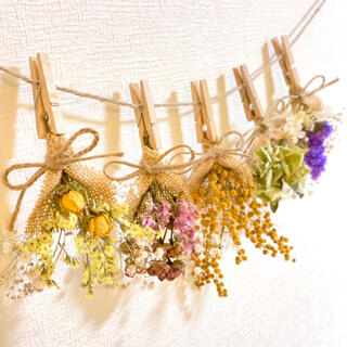 ドライフラワー スワッグ ガーランド カラフル スターチス ミニバラ 紫陽花