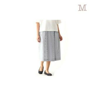 MUJI (無印良品) - ≪新品≫ 無印良品ストレッチサッカーワイドパンツ/ダークネイビーストライプ/M