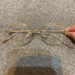伊達メガネ 丸メガネ ゴールドメガネ