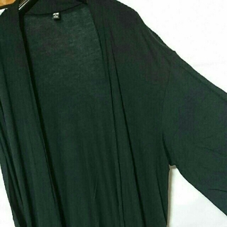 UNIQLO - 美品 UNIQLO 羽織り カットソー ガウン 黒 ロング