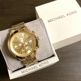 マイケルコース(Michael Kors)の【大特価!!】マイケルコース 英字クロノグラフ腕時計 ゴールド 夏 山や海🎀(腕時計)