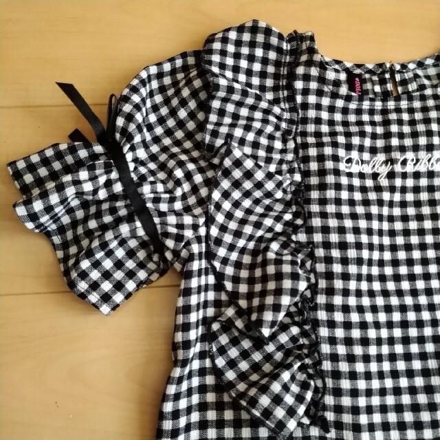 未使用✨DOLLY RIBBON 140cm 半袖 チェック 黒白  キッズ/ベビー/マタニティのキッズ服女の子用(90cm~)(Tシャツ/カットソー)の商品写真