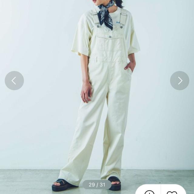 白サロペ レディースのパンツ(サロペット/オーバーオール)の商品写真