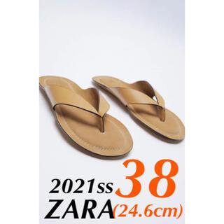 ZARA - ZARA リアルレザーフラットサンダル