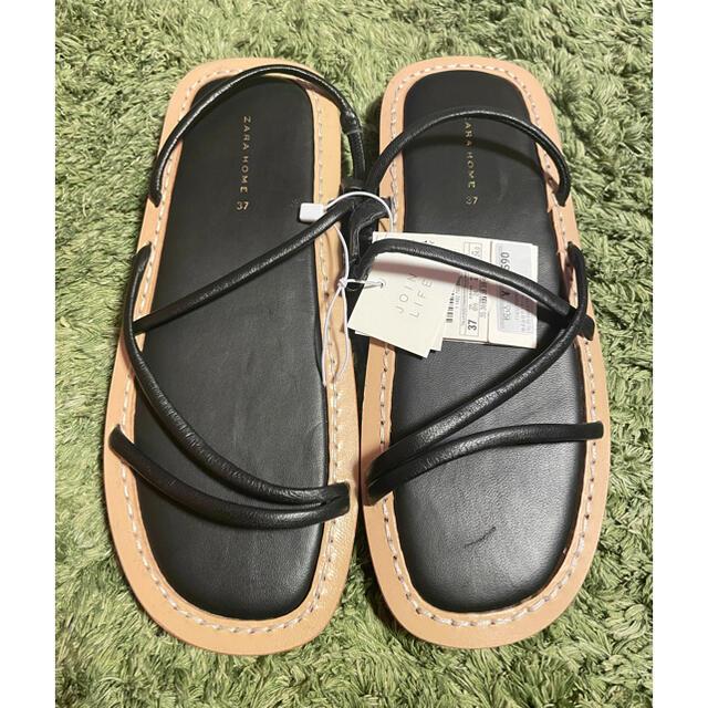ZARA HOME(ザラホーム)のザラホーム サンダル 黒 zarahome 24cm 37 レディースの靴/シューズ(サンダル)の商品写真