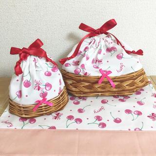 【17】お弁当袋 コップ袋 ランチョンマットセット  女の子 さくらんぼチェリー(外出用品)