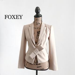 フォクシー(FOXEY)のFOXEY フォクシー ジャケット ベージュ リボン レディース(テーラードジャケット)
