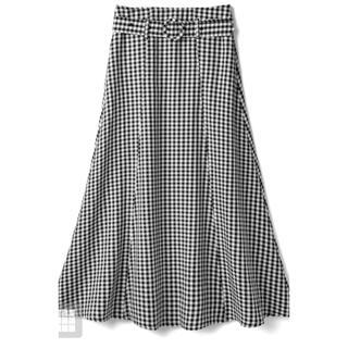 グレイル(GRL)のタグ付き・新品・未使用GRL ベルト付きギンガムチェックフレアスカート(ロングスカート)