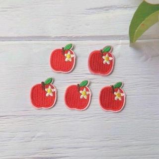 りんご 5枚 アイロン接着 ワッペン