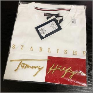 TOMMY HILFIGER - シグネチャーロゴエンブロイダリー刺繍Tシャツ ホワイトM