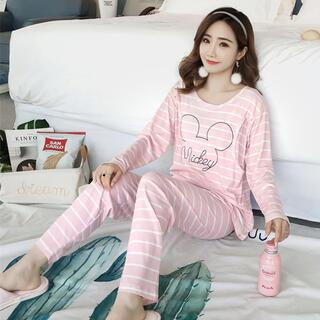 マタニティパジャマ  (Mサイズ)  ピンクボーダー  授乳服(マタニティパジャマ)