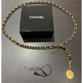 CHANEL - 良品 シャネル ココマーク チェーン ベルト レザー ブラック ゴールド 箱