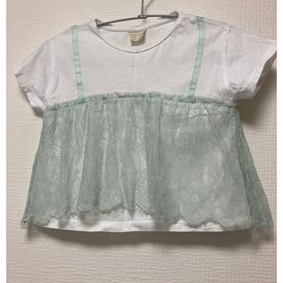ザラキッズ(ZARA KIDS)のZARA kids 116 115 110 Tシャツ レース ミント(Tシャツ/カットソー)
